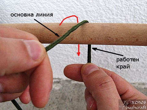 Кръстовиден възел - Прехвърляне през колчето