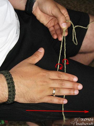 Направа на върви и въжета - Усукване върху бедрото
