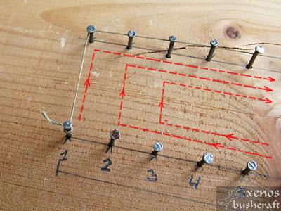 Тетива Фламандска плетка - Омотаване на нишката